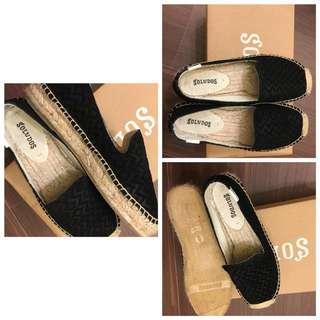 Soludos 黑色印花麂皮草編鞋 35-36