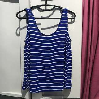 Forever21 Navy tripe top