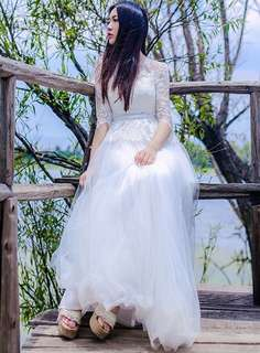 AO/TZC070602 - Charming Fairy Flouncing Lace Splicing Gauze Layered Maxi Dress