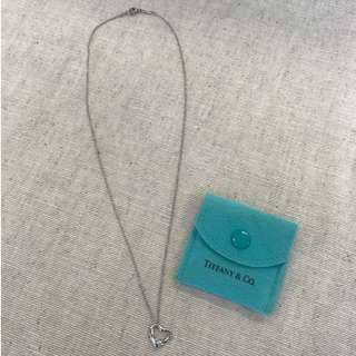 TIFFANY PLATINUM PT950 Elsa Peretti Open Heart Pendant + Necklace