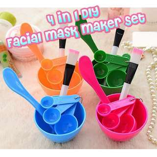 4-in-1 DIY Facial Mask Maker Set Mixing Bowl + Stick + Brush + Measuring Spoons
