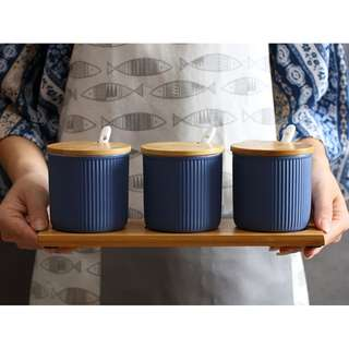 Nordic Spice Ceramic Storage Canister (Set of 3) - Blue