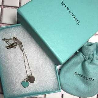 Tiffany & Co 雙心頸鍊 有單盒紙袋絲帶