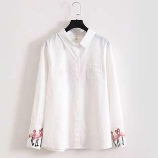 (XL~4XL) 2018 Solid color casual flamingo embroidery shirt