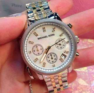 MK 5057 RITZ MOTHER OF PEARL TWO TONED WATCH