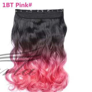 5 Clips Curly Ombre Black to Light Pink