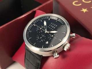 CCCP手錶 Kashalot (kasharotto)黑色/黑色皮革錶帶