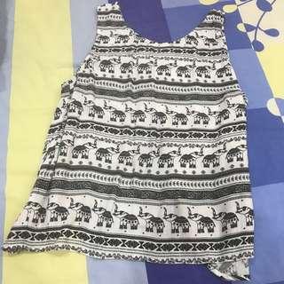 H&M Coachella Tribal Elephant Sleeveless Open Back Tank Top