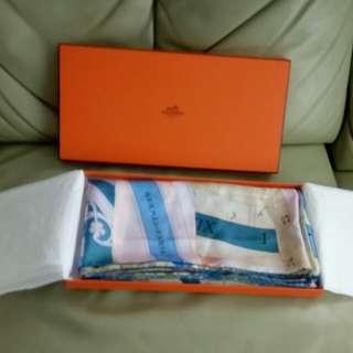 Hermes silk scarf shawl 140x140cm
