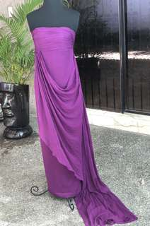 MARCHESA NOTTE Purple Tube Long Gown with Long Side Drape Detail - SIZE 2 - Fits XS to Small Frames