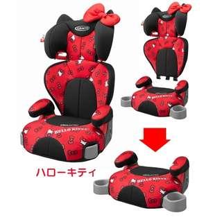 【預購】日本 | GRACO:三麗鷗_造型系列*兒童~安全座椅(適用年齡:大約03歲到11歲左右/主體耐重:從15公斤到36公斤/大小:(高背)W400xD400xH715-842(mm)/(增壓器)W400xD388xH245(mm)/重量:3.8公斤(只座2.1公斤))_免運。