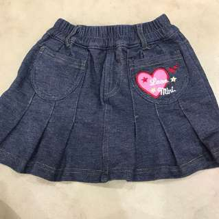 Pretty ribbon denim skirt size 90