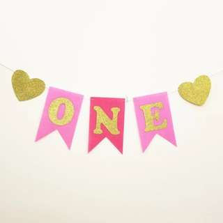"""ONE"" Year Old Banner for High Chair (Rental)"