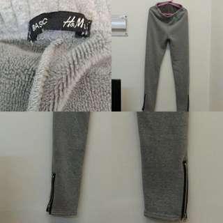 H&M 灰色抓毛褲
