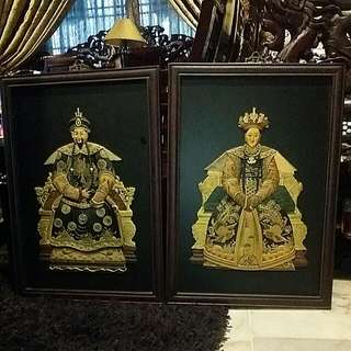 Chinese Antique Vintage Emperor  And Empress Pair Of Frames