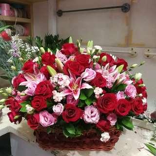 Rose Lily Flower Basket