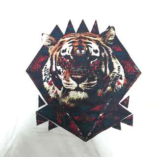 Simple White Tshirt with Tribal Tiger Print