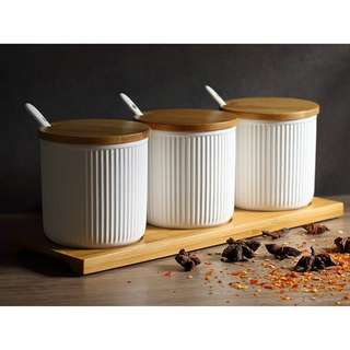 Nordic Spice Ceramic Storage Canister (Set of 3) - White