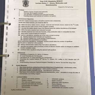 RJC H1 Chemistry Notes along with practice questions and answers