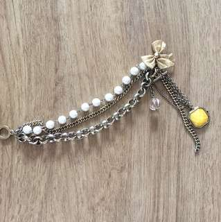 Pearl and Gold Beautiful Bracelet with Charms