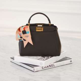 Fendi peekaboo mini bag black with cow skin