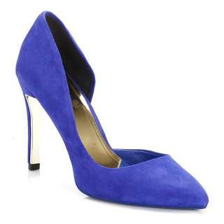 Ted Baker Womens Court Shoes Blue Meshi Suede Slip On Stylish Heels Lady