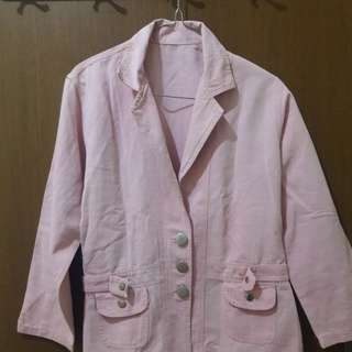 Preloved Blazer Pink Fit to L Mat Katun Tebel