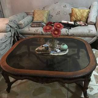 Wooden living room flower sculptured table