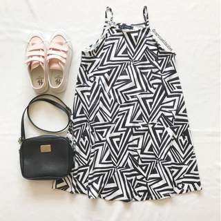 Monochrome Zig Zag Halter Cut In Dress