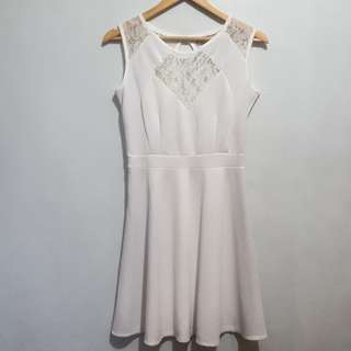 Lace detailed white dress