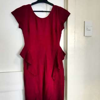 Zara Maroon Peplum Dress