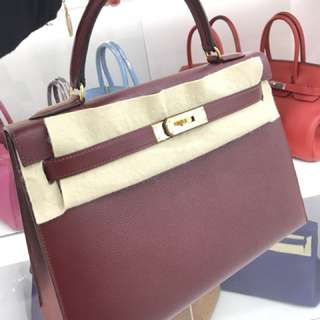 Hermes Kelly 32 酒紅色 Epsom 外縫🌟