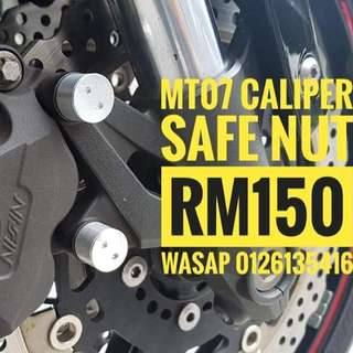 Good news for mt07 biker mt07 caliper safe nut available now rm150 wasap 0126135416 Protect your caliper get stolen