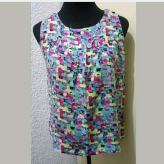 WA447 Abstract Color Sleeveless Korean Blouse (see pics for Measurements)