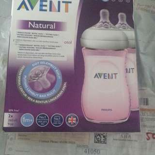 Avent Natural bottle 9oz and 4oz slow flow no2 teat