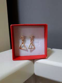 Gold stud triangle dangle earrings