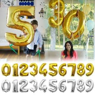 32-inches gold or silver foil balloons