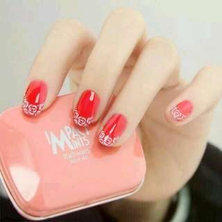 24pcs/Set Red Lace French False Nails Women Fingernail Nail Art Decoration Round Head Middle Long Fake Nails with Glue