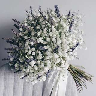 Baby Breath with Lavender Bouquet