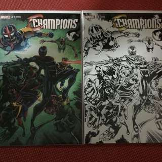 Marvel Champions #1 Original & Black/White Venomized Variant