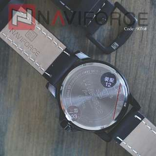 Casual Men Analog Quartz NAVI FORCE 9076#p  Diameter : 4,5cm Original Brand Leather Strap Ready 3 colours : - Black Red - Gray - Gray White Active Date New Models Free box NAVI Warranty machine 1 year Weight : 0,2 kg/pcs  H 240rb