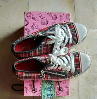 Red checkered sneakers