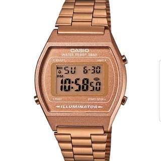 Casio original B640wc-5a Unisex Rose Gold Retro Style Vintage Digital