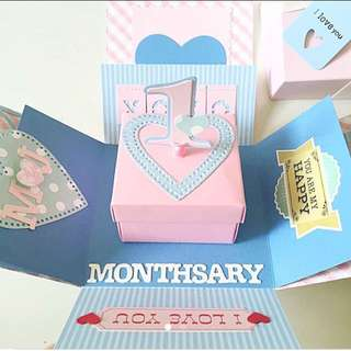 Happy 1st Monthsary Explosion Box Card in blue and light pink