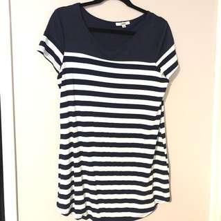 White & Navy Striped T-Shirt Dress
