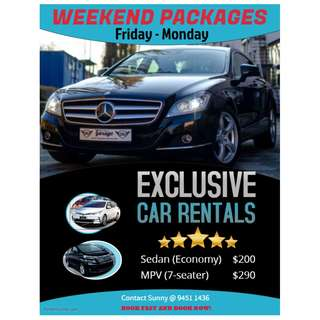 Weekend Car Rental Package (Fri - Mon)