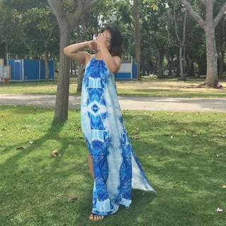 Blue Patterned Dress with Open Back