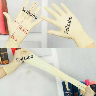 2 Pairs Disposable Latex Gloves Protect Cream Colour Sellzabo Hair Colouring Latext Salon Protection
