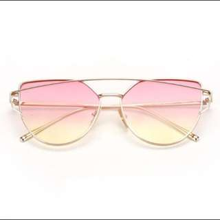 Pink Yellow Ombre Gold Rim Sunglasses
