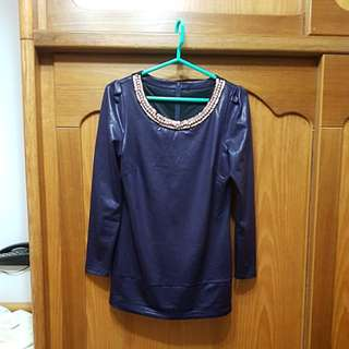 🚚 wanko光澤感長版上衣 《深紫色》